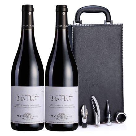 法国碧拉庄园鲁西永2009红葡萄酒黑色双支皮盒
