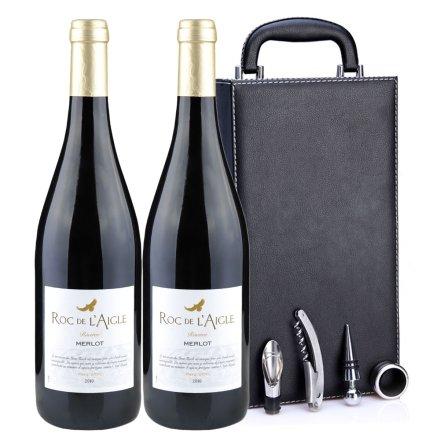 法国鹰之岩美乐2010干红葡萄酒黑色双支皮盒