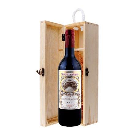 法国男爵窖藏波尔多干红葡萄酒单支松木礼盒装