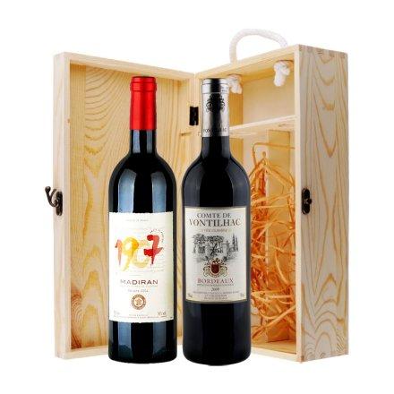 法国波尔多干红双支松木礼盒