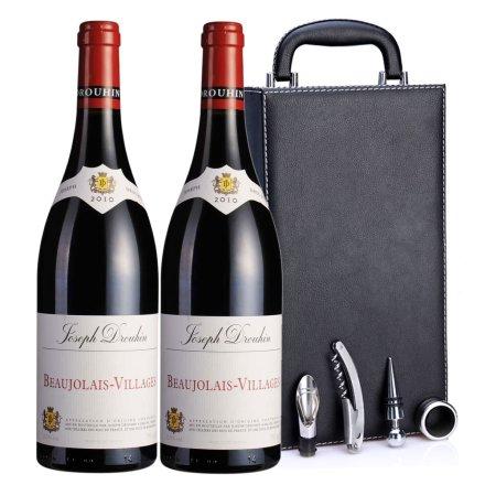 法国约瑟夫杜鲁安博若莱村酿2010红葡萄酒黑色双支皮盒