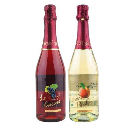 法国罗曼蒂水果甜起泡酒(黑醋栗味)+(蜜桃味)组合