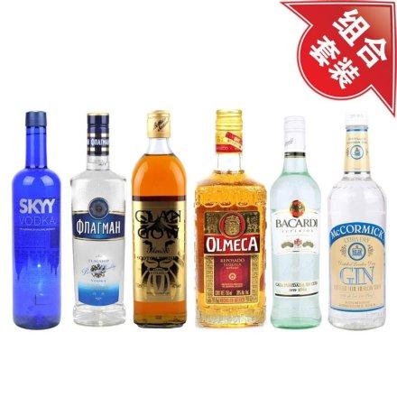 深蓝伏特加+旗舰伏特加700ml+克兰格威士忌 +奥美加金龙舌兰+百加得超级朗姆酒+麦克美金酒