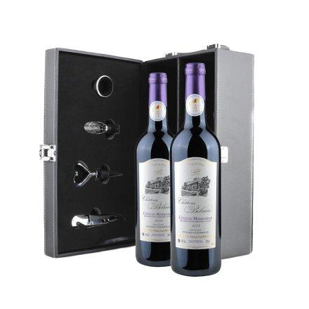 法国帕拉马城堡红葡萄酒AOC级+高档黑色双支皮盒赠红酒四件套