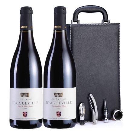 法国戴归乐城堡2011干红葡萄酒黑色双支皮盒
