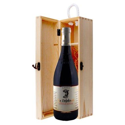 法国德尔菲娜干红葡萄酒单支松木礼盒装