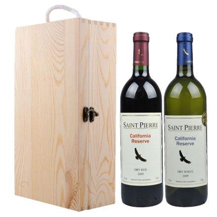 (清仓)圣皮尔加州特酿干红+加州特酿干白葡萄酒+双支松木盒