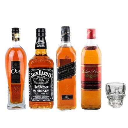 四大知名威士忌套装+水晶头骨酒杯