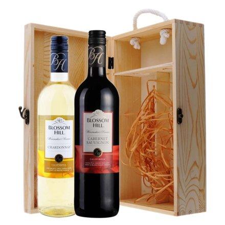 美国花满坊酿酒师珍藏赤霞珠干红+霞多丽干白双支松木礼盒