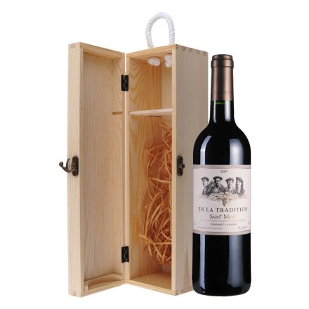 法国传世圣蒙2009干红葡萄酒单支松木礼盒装