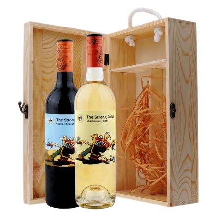 澳大利亚詹姆士水手卡本纳干红+霞多丽干白葡萄酒双支松木礼盒