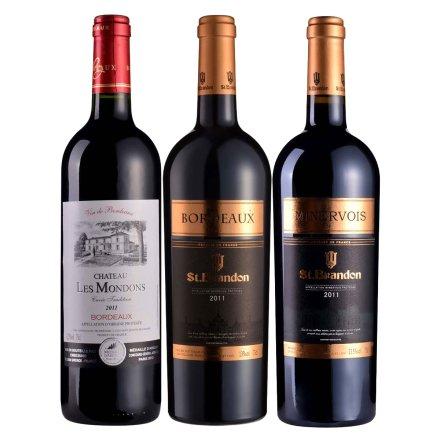 法国圣堡兰帝梦桐斯酒庄葡萄酒750ml+法国圣堡兰帝波尔多葡萄酒750ml+法国圣堡兰帝米内瓦葡萄酒750ml