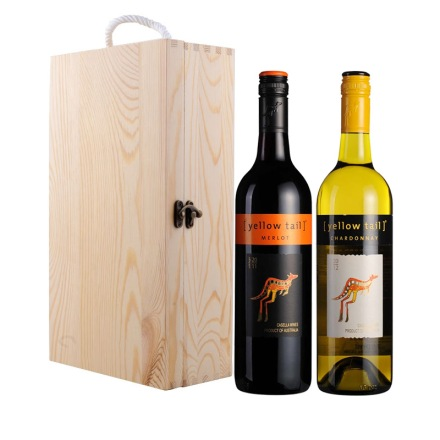 澳大利亚黄尾袋鼠梅洛红葡萄酒+澳大利亚黄尾袋鼠霞多丽干白葡萄酒+双支松木盒