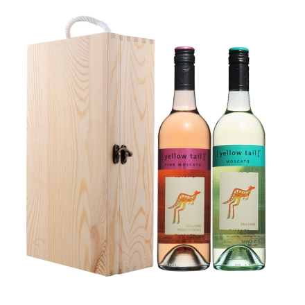 澳大利亚黄尾袋鼠慕斯卡白葡萄酒750ml+澳大利亚黄尾袋鼠慕斯卡桃红葡萄酒750ml+双支松木盒