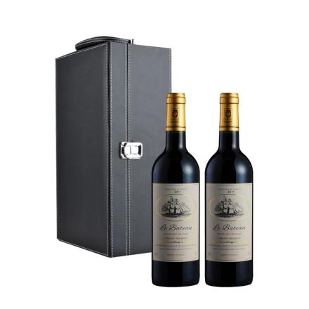 法国龙船之星干红葡萄酒双支黑色礼盒装
