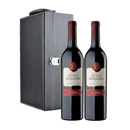 法国博玛干红葡萄酒双支黑色礼盒装