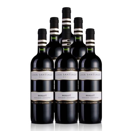 智利圣地亚哥美乐干红葡萄酒750ml(6瓶装)