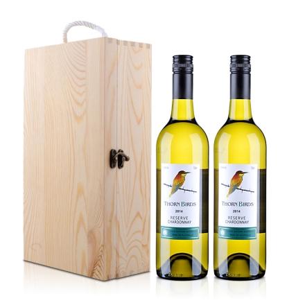 澳大利亚朗翡洛荆棘鸟莎当妮干白葡萄酒750ml*2+双支松木盒