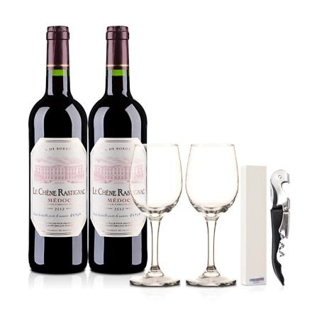 法国海蒂克梅多克干红葡萄酒750ml(双瓶装)配酒杯酒刀
