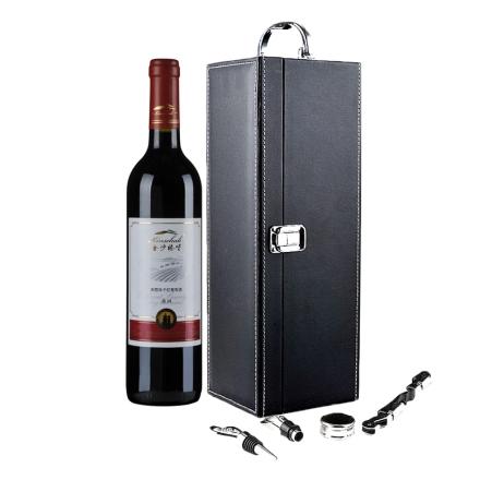 金沙臻堡葡园赤霞珠干红葡萄酒单支皮盒礼装