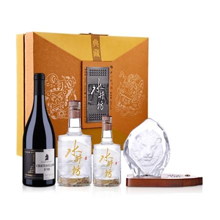 48°水井坊年画装礼盒500ml+250ml+法国驭香龙金酒庄干红葡萄酒750ml