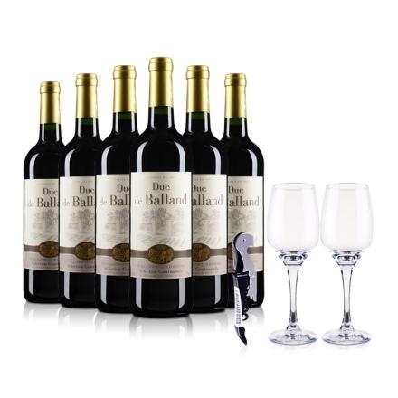 法国巴朗德公爵干红葡萄酒750ml*6支装(酒杯酒刀)