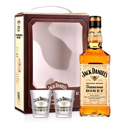 35°美国杰克丹尼田纳西州威士忌蜂蜜味力娇酒(双杯礼盒)700ml