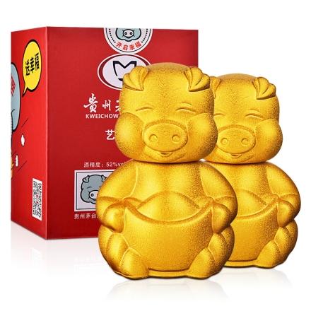 52°茅台集团艺术小酒猪宝宝酒375ml(双瓶装)