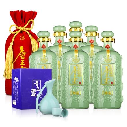52°五粮液(股份)唐王宴珍品750ml(6瓶装)+青玉瓷酒具
