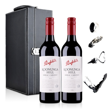 澳大利亚奔富寇兰山赤霞珠西拉红葡萄酒双支礼盒