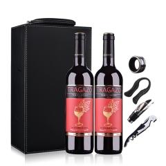 西班牙红酒(原瓶进口)醉爱干红葡萄酒750ml*2(双支皮盒套装)