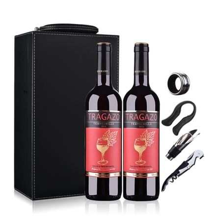 【礼盒】西班牙红酒(原瓶进口)醉爱干红葡萄酒750ml*2(双支皮盒套装)
