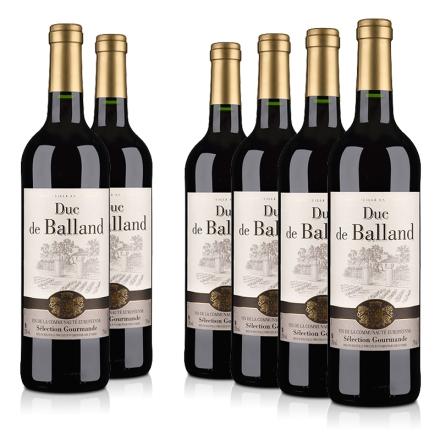 法国整箱红酒法国巴朗德公爵干红葡萄酒750ml(6瓶装)