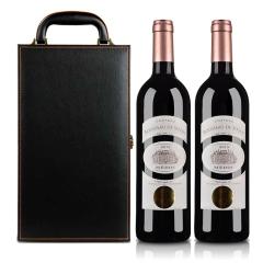 法国鲁索喜萍城堡干红葡萄酒双支皮盒