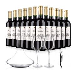 法国整箱红酒法国进口富乐男爵干红葡萄酒12瓶装聚会大礼包