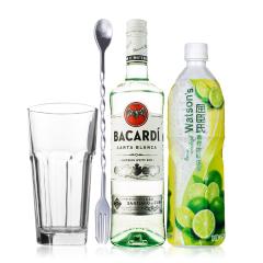 Mojito莫吉托/莫吉多鸡尾酒套装(百加得超级朗姆酒+屈臣氏青柠汁)(2瓶装)