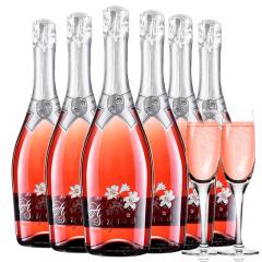 意大利原瓶进口红酒恋爱季低醇起泡酒桃红气泡酒送香槟杯750ml*6