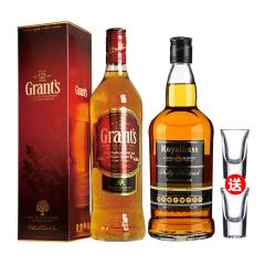 40°格兰苏格兰威士忌700ml+41°皇家贝斯威士忌700ml(送两个洋酒杯)