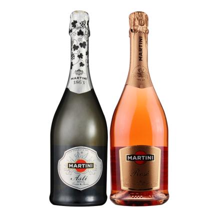 意大利进口红酒 马天尼阿斯蒂粉红起泡酒组合750ml*2 葡萄酒