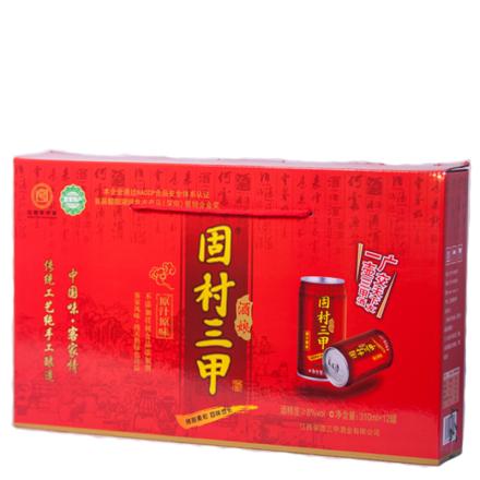 【手工米酒】8°固村三甲原浆酒娘(甜黄酒二级)罐装整箱310ml*12
