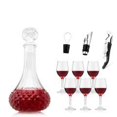 酒具大礼包十件(花瓶醒酒器*1 酒杯*6 海马刀*1 倒酒器*1 酒塞*1)