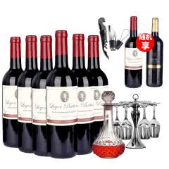 法国原瓶原装进口朗格巴顿干红葡萄酒整箱(750ml*6)送醒酒器红酒杯酒架套餐