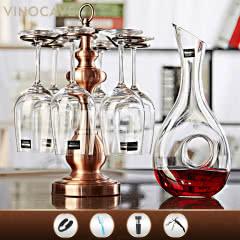 Vinocave 红酒杯 无铅水晶杯 红酒醒酒器酒架酒具套装 波尔多葡萄酒高脚杯