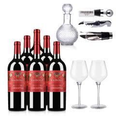 意大利圣霞多·麦索罗干红葡萄酒750ml (西西里岛地理标志保护葡萄酒)*6瓶+精美酒具6件套