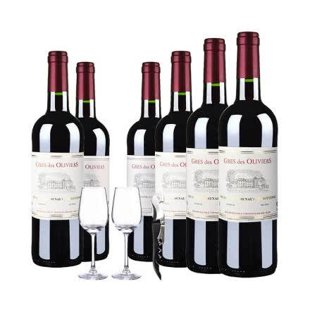 法国整箱红酒法国原瓶进口葛雷奥利干红葡萄酒750ml(6瓶套)酒杯酒刀