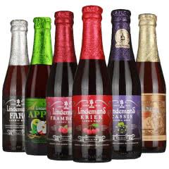 比利时进口啤酒林德曼果味啤酒6种口味组合250ml(6瓶装)