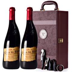 法国原瓶进口红酒教皇新堡芙华安赛伦AOC级干红葡萄酒红酒礼盒装750ml*2