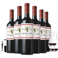 智利进口蒙特斯欧法梅洛干红葡萄酒750ml*6  赠送2杯+醒酒器+酒塞+开瓶器