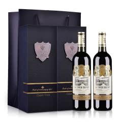 【礼品礼盒装】法国原酒进口红酒拉图王牌干红葡萄酒整箱装750ml*2双支礼盒装