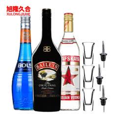 蓝色水母鸡尾酒套餐(波士蓝橙力娇酒+百利甜酒+拉脱维亚红牌伏特加)(3瓶装)